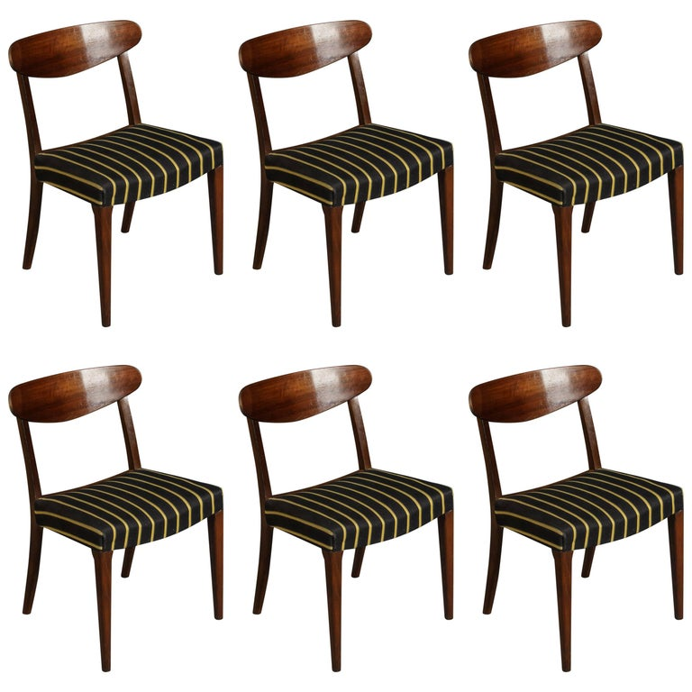 Set of Six Danish Curved Back Dining Chairs