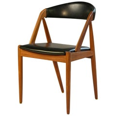 1960s Kai Kristiansen Model 31 Dining chairs in Teak and Black Leatherette