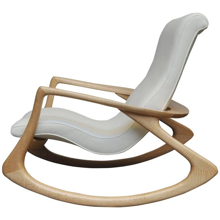 "Vladimir Kagan ""Erica Rocking Chair"" with Rare Maple Frame, circa 1960s"