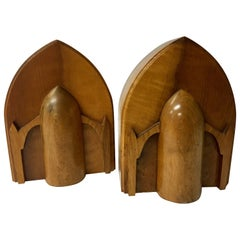 Pair of Solid Maple Wood Art Deco Bookends