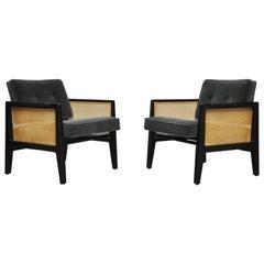 Edward Wormley Cane Side Lounge Chairs for Dunbar