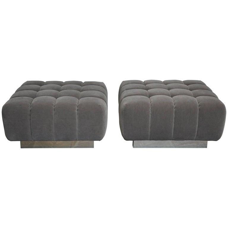 Harvey Probber Cubo Ottomans on Chrome Bases