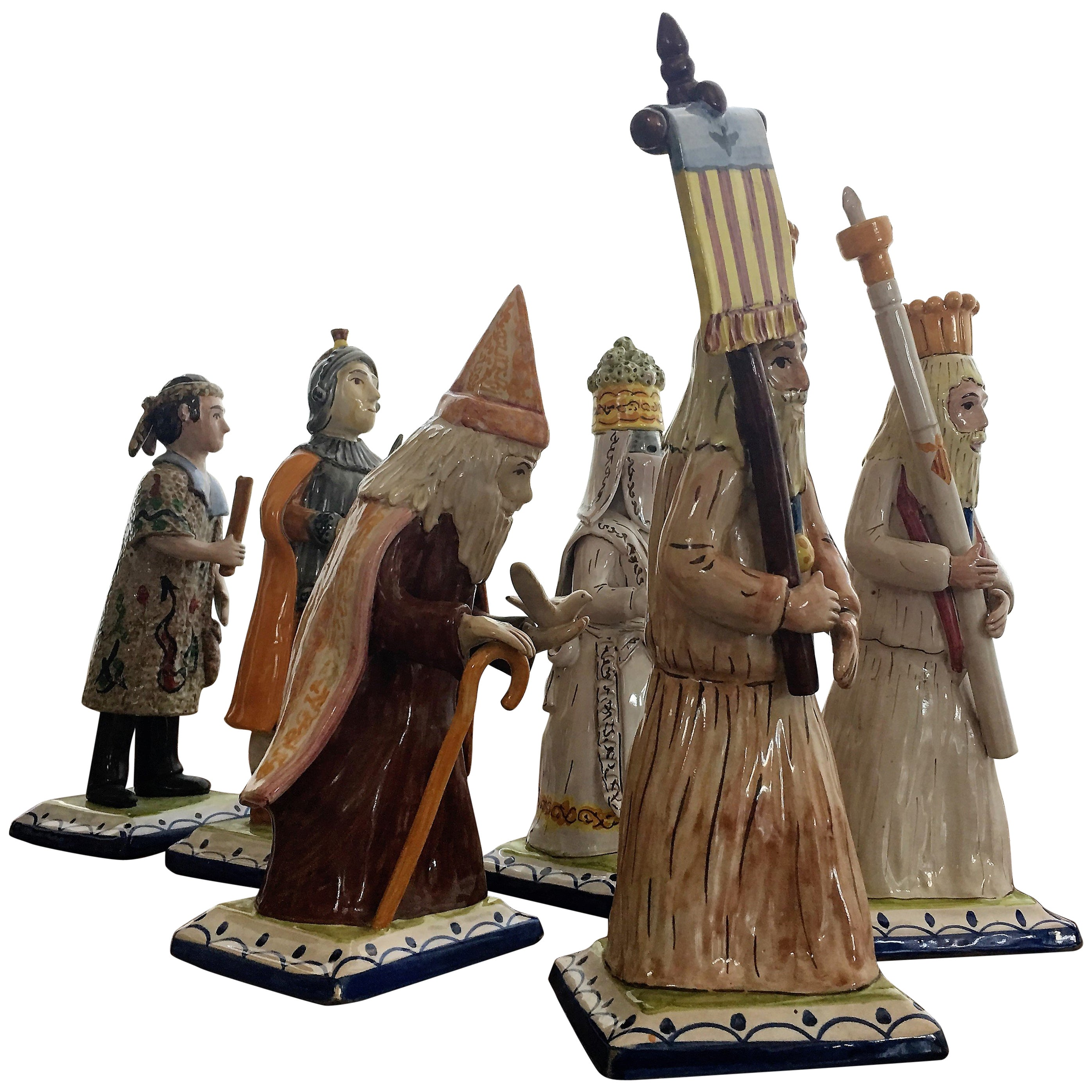 Set of Six Polychromed Figures Depicting the Processions of Holy Week