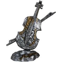 1960s Violin Metal Sculpture, Signed, France
