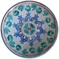 Midcentury Blue and Green Ceramic Dish or Plate with Geometrical Motifs