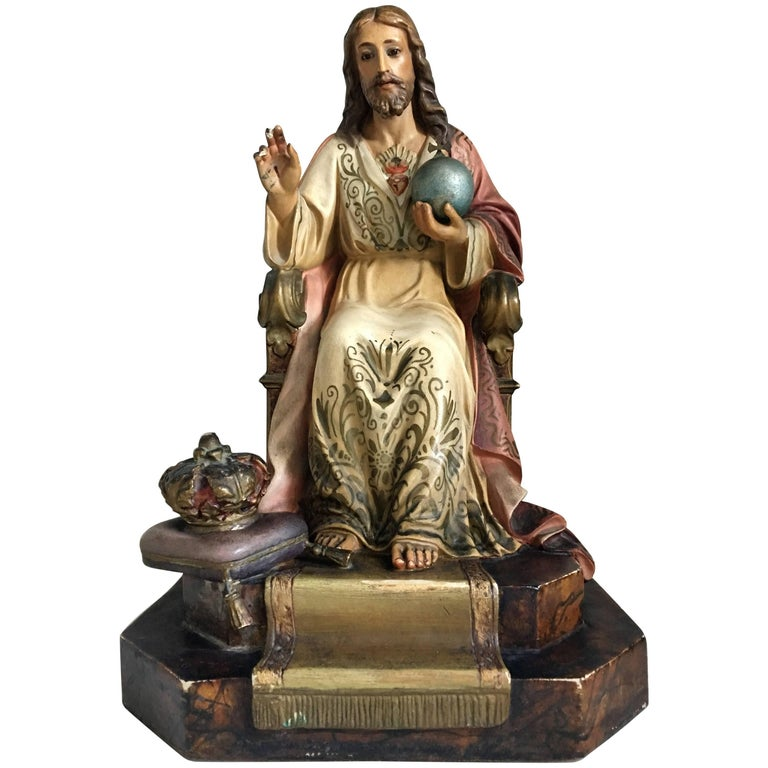 20th Century French Painted and Gilt Statue of Jesus Christ, Sacred Heart