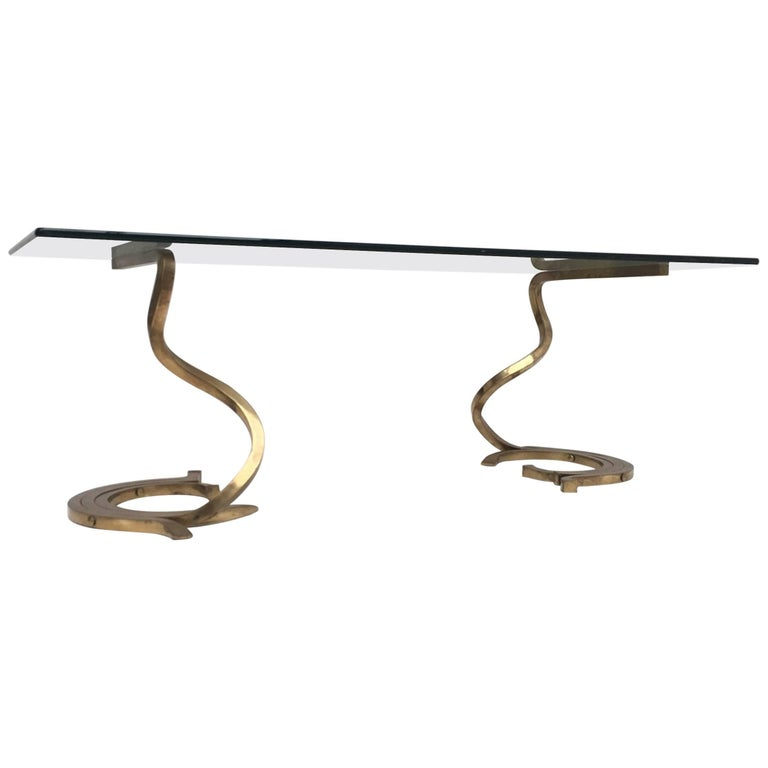 Stunning Sculptural Serpentine Form Coffee Table, Solid Brass Bar, Italy, 1970