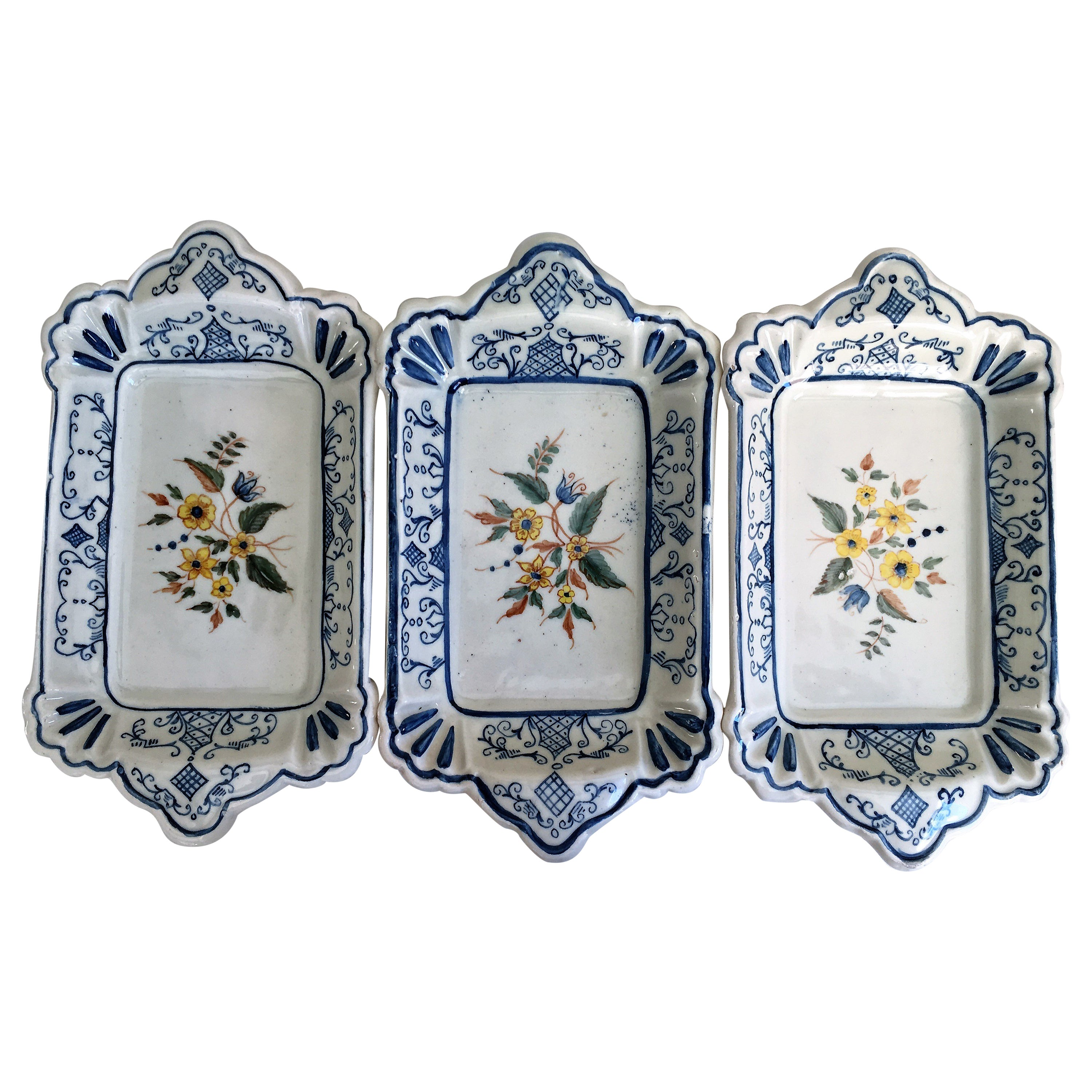 20th Century Set of Three Trays in Blue and Yellow Ceramic, Spain
