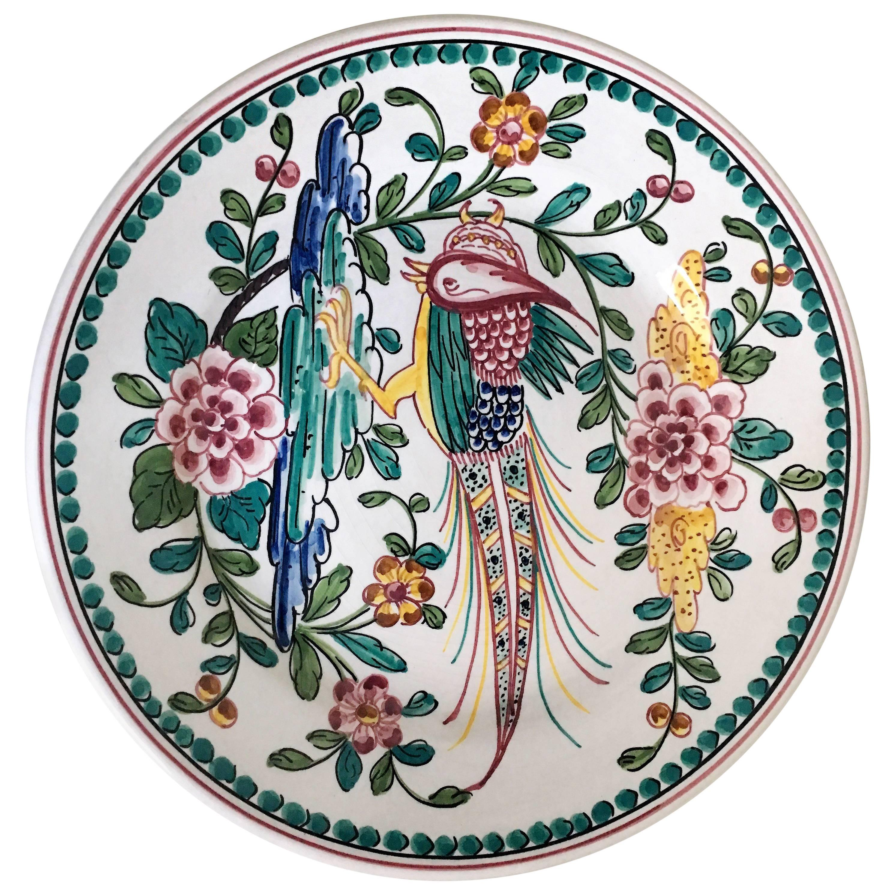 Vintage Outeiro Agueda Hand-Painted Plate from Portugal