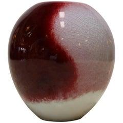 Candy Apple Red and Cream Decorative Ceramic by Masuo Ojima