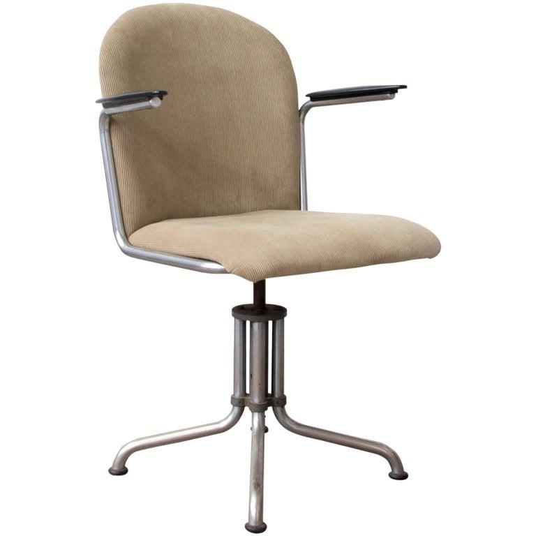 1935, W.H. Gispen by Gispen Culemborg, Office Chair 356, Bakelite Spear Armrests