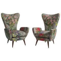 Pair of High Back Modern Armchairs, circa 1960