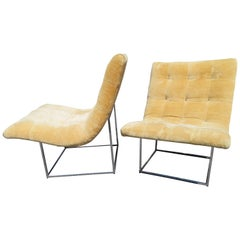 Fabulous Pair of Milo Baughman Chrome Scoop Slipper Chair, Mid-Century Modern
