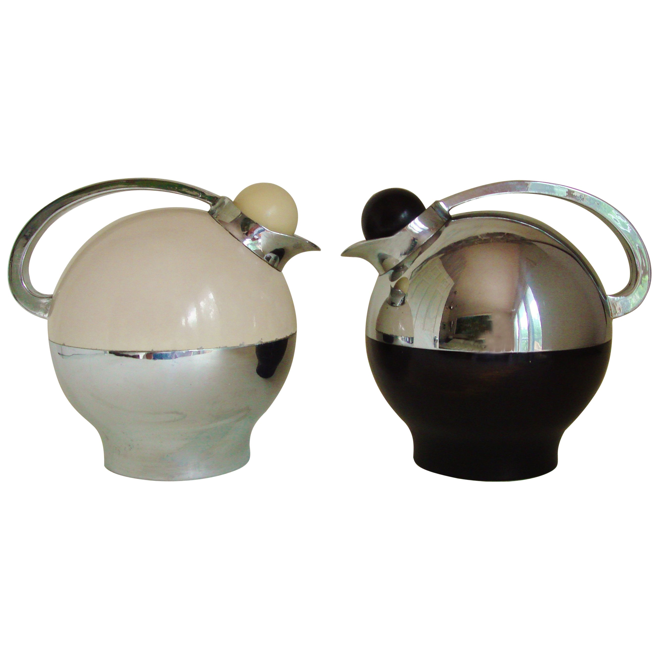 Contrasting Pair of Chrome and Paint American Art Deco Water Pitchers by Thermos