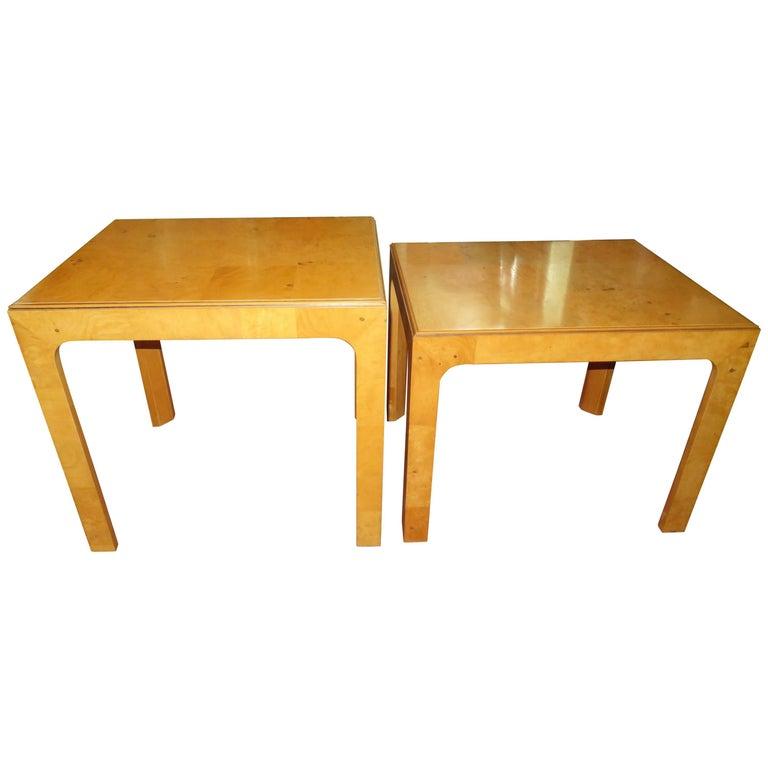 Handsome Pair of Henredon Scene Two Burled Olive Wood End Side Tables