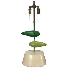 """Unusual Modernist Painted Metal """"ZEPPELIN"""" Table Lamp by Heifetz"""