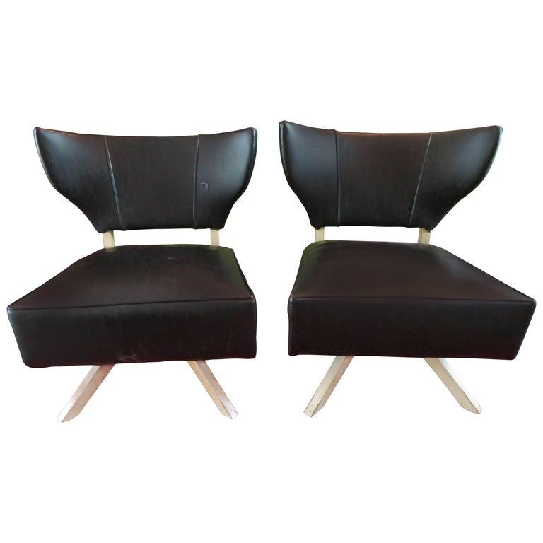 Fun Pair of Kroehler Bat Wing Swivel Slipper Chairs, Mid-Century Modern