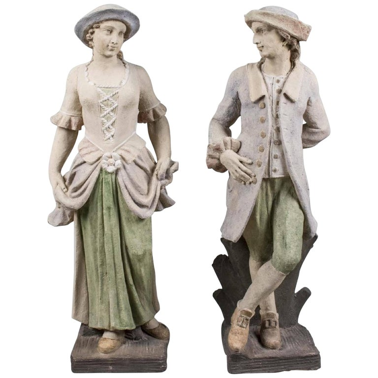 Pair of 18th Century Style Garden Statues