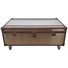 Stainless Steel and Leather Bound Trunk Coffee Table with Two Side Drawers