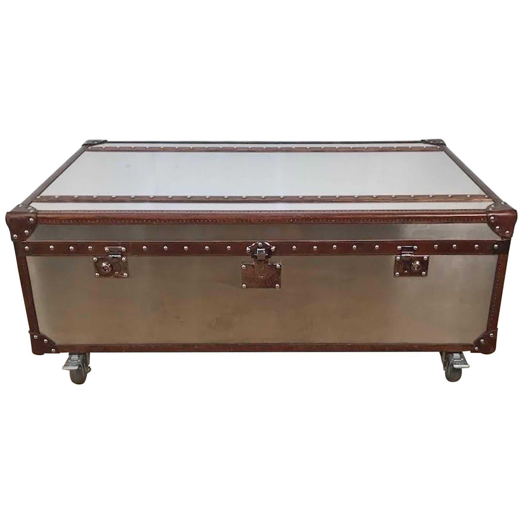 Stainless Steel And Leather Bound Trunk Coffee Table With Two Side Drawers  For Sale