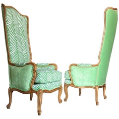 Hollywood Regency Tall Wingbacks in the Style of Marge Carson