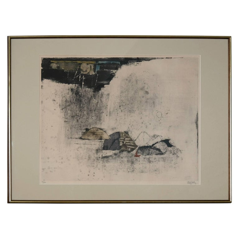 "Large Johnny Friedlaender Etching and Aquatint ""L'Orage - The Storm"", 1966"