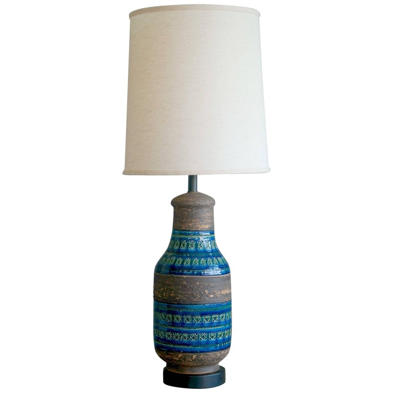 Aldo Londi Rimini Blu Large Ceramic Table Lamp for Bitossi