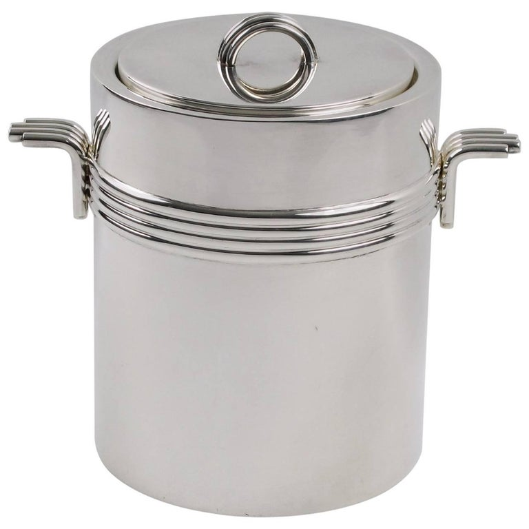 Mid-Century Modern Silver Plate Ice Bucket by Christian Dior, circa 1970s For Sale