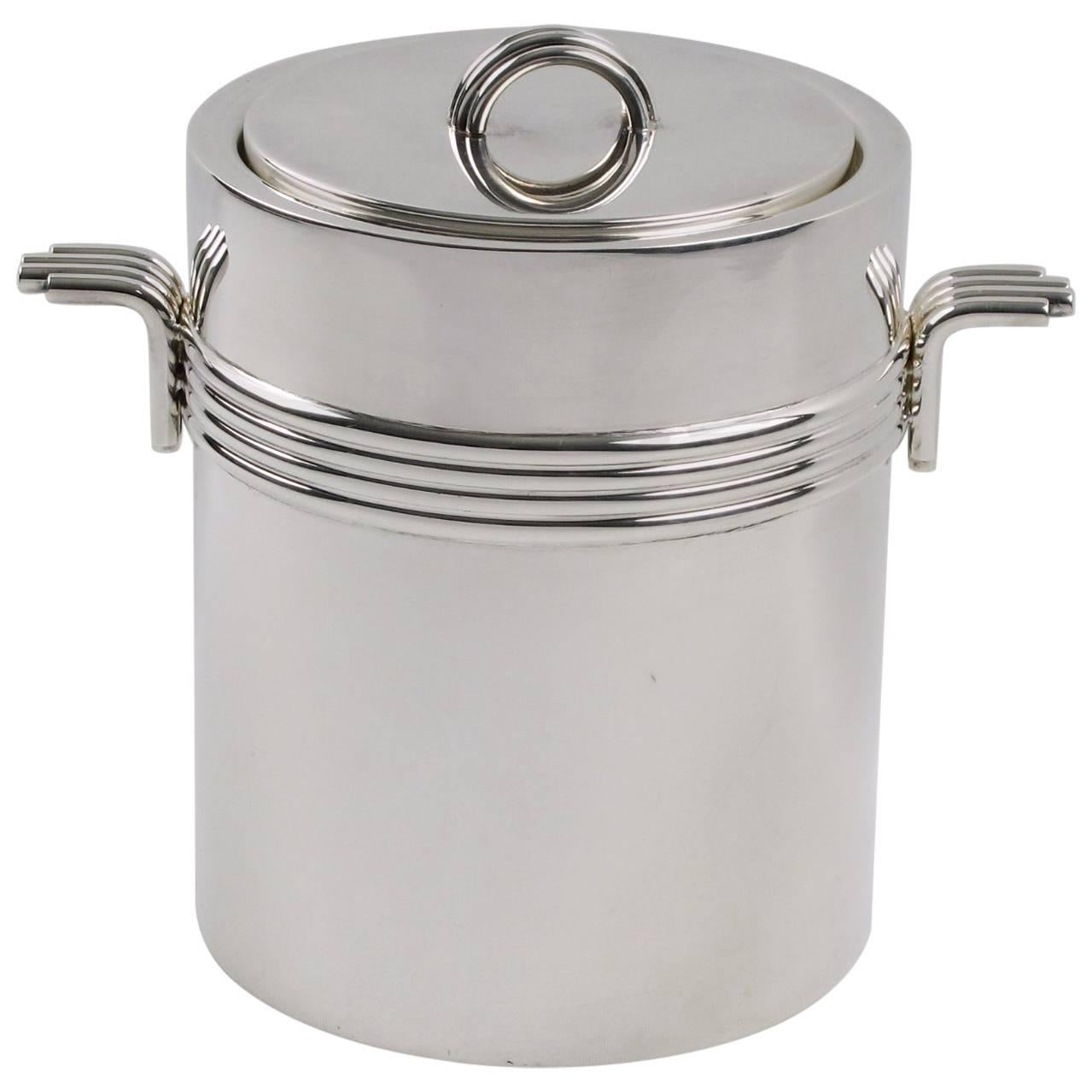 Mid Century Modern Silver Plate Ice Bucket By Christian Dior, Circa 1970s  For Sale