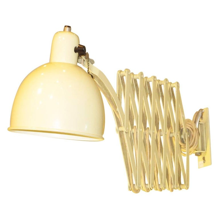 Wall Lamps Retractable : Christian Dell Scissor Retractable Wall Lamp Sconce for Koranda, Austria, 1933 For Sale at 1stdibs