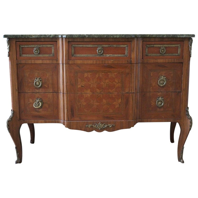 French Marquetry Inlaid Commode with Marble Top