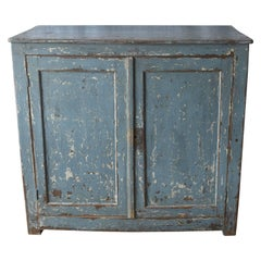 Spanish 19th Century Painted Blue Two-Door Buffet with Three Shelves