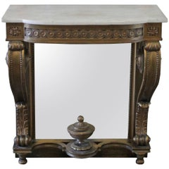 20th Century Giltwood Console with Mirror Back and White Marble Top