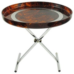 Mid-Century Modern Folding Tray Table Tortoise Lucite and Chrome, Italy, 1980s