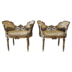 19th Century Giltwood Carved Louis XVI Style Vanity Chairs