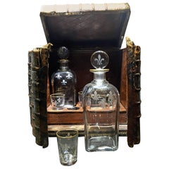 """French Leather Bound Faux Book 19th Century Tantalus """"Cave a Liqueur"""""""