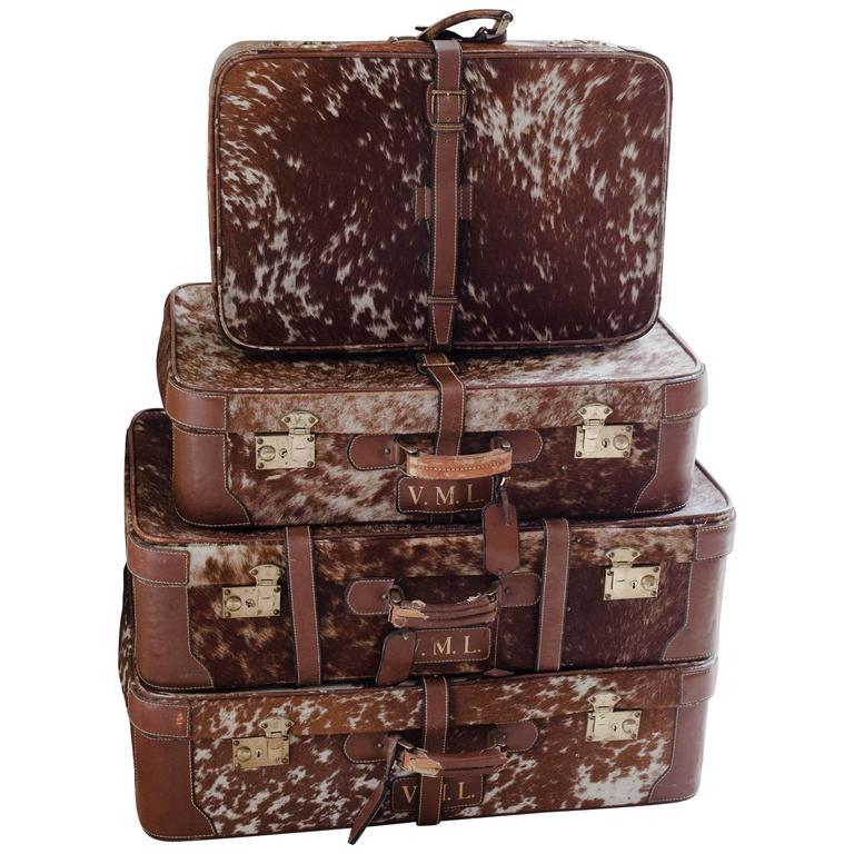 Vierteiliges Set Franzosischer Koffer Aus Leder Und Ponyhaut 20