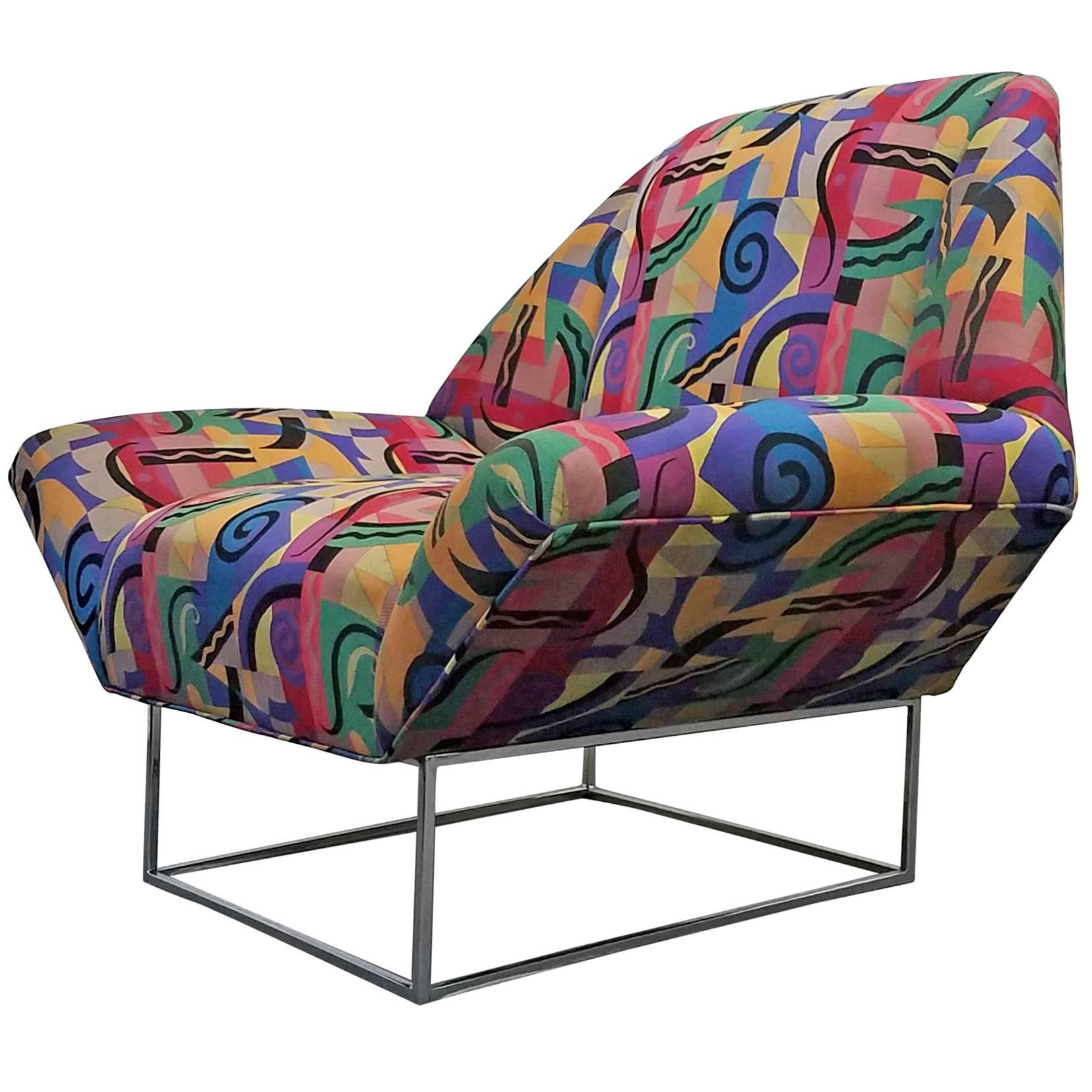 Oversized Mid Century Lounge Chair In The Style Of Milo Baughman For Sale  At 1stdibs