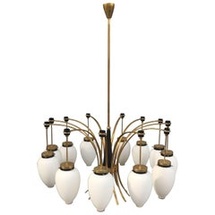 Stunning Brass and Glass Chandelier Attributed to Stilnovo
