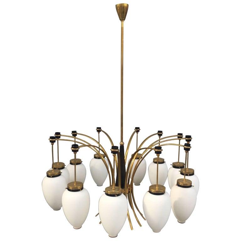 Stunning Brass and Glass Chandelier Attributed to Stilnovo