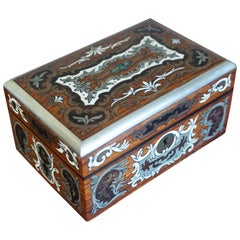Stunning Antique Box Inlaid with Amazing Motifs in Silver, Bone, Mother-of-Pearl