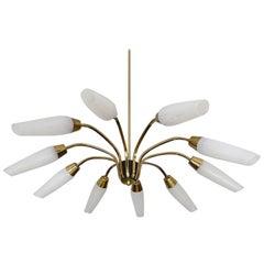 Large Sunburst Brass Glass Chandelier, 1950s Modernist Stilnovo Pendant Lamp
