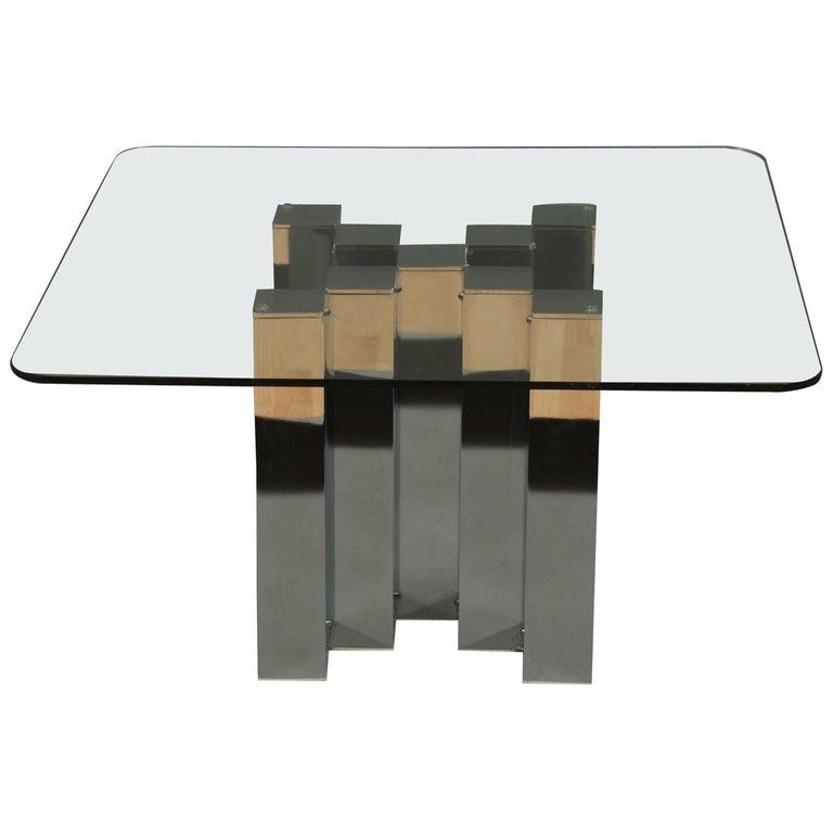 Paul Evans Style Chrome Vintage Coffee Table