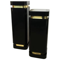 Pair of Black Lacquer and Brass Pedestals