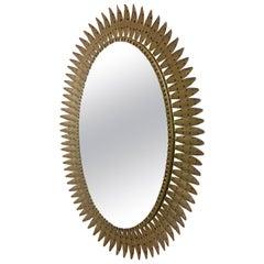 Oval Sunburst Mirror, 1970s