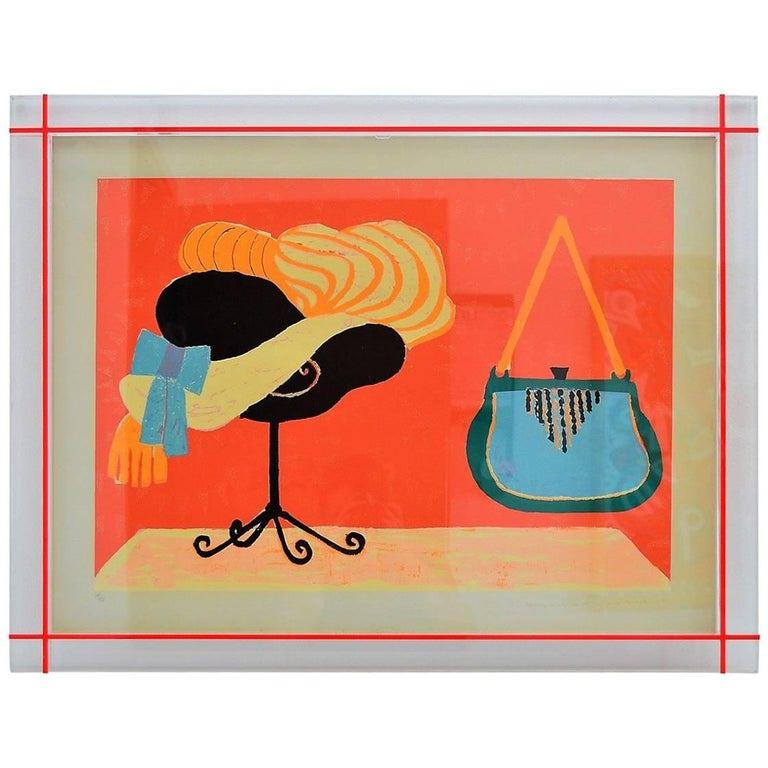Laura Fiume Print Signed and Numbered with Original Acrylic Glass Frame, 1980s