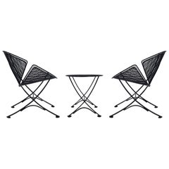 Maurizio Tempestini Pair of Patio Iron Lounge Chairs & Table, Mid-Century Modern