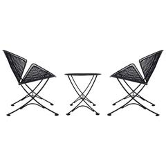 Maurizio Tempestini Pair of Patio Iron Lounge Chairs & Table, Mid-Century Modern