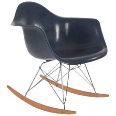 Mid-Century Eames for Herman Miller Fiberglass Rocking Lounge Chair in Navy
