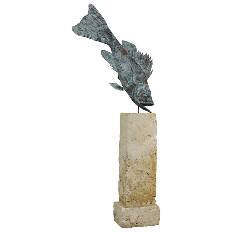Large Verdigris Copper Sculpture of a Fish Mounted on a Real Coral Rock Pedestal 1